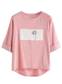 Pink Contrast Daisy Print High Low Cuffed T-shirt