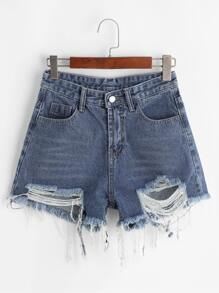 Frayed Raw Hem Denim Shorts
