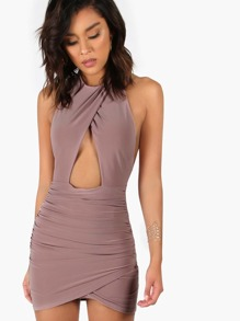 Ruched Peakaboo Halter Dress MAUVE