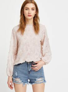 Apricot Embroidered Flower Applique Bishop Sleeve Scalloped Top