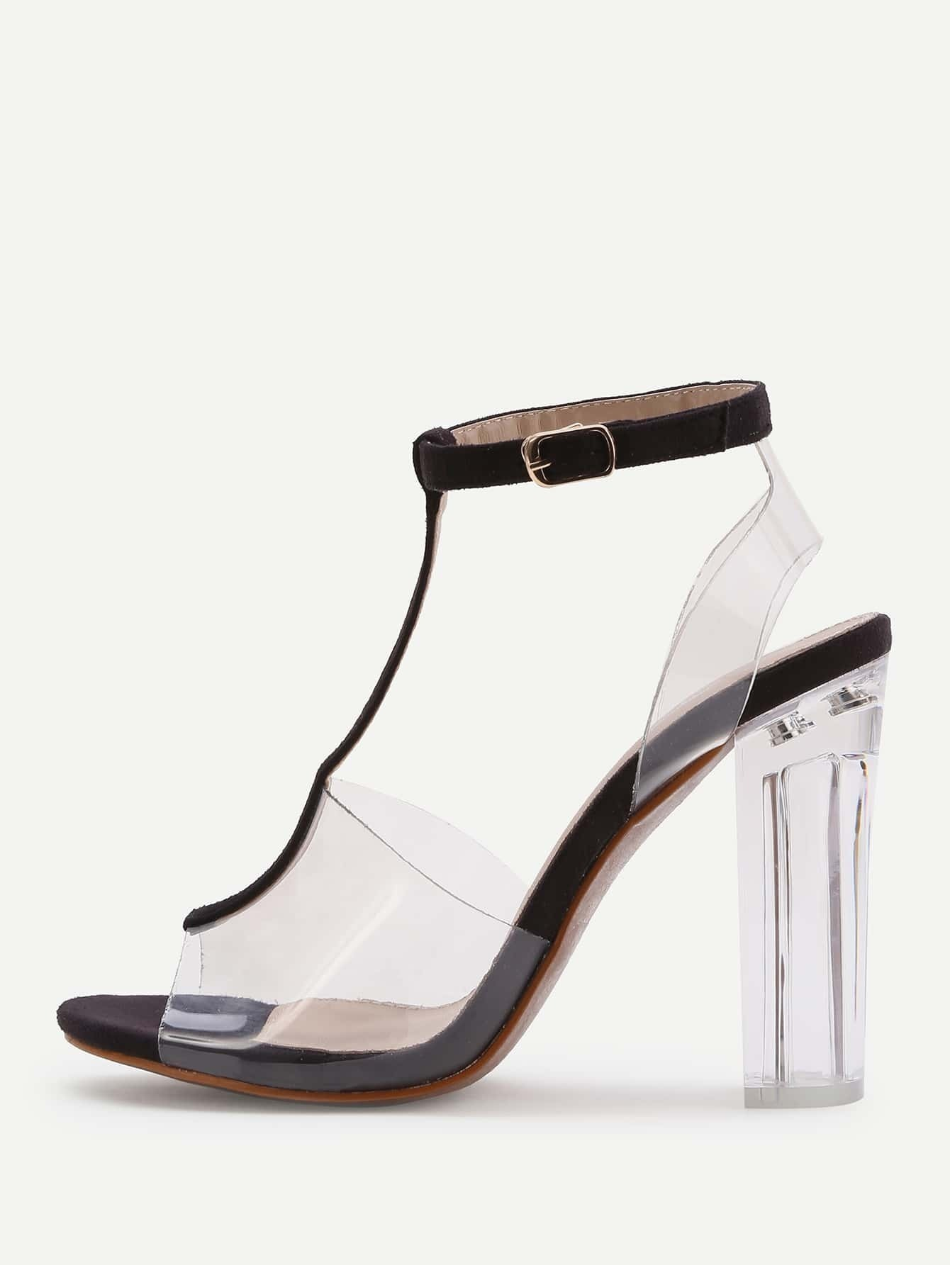 5777bc71f477 Contrast Ankle Strap Peep Toe Clear Chunky Heels EmmaCloth-Women ...