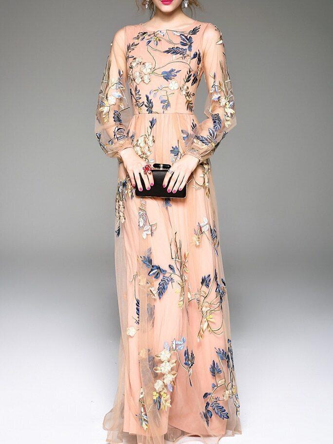 0283063fd6de03 Apricot Gauze Flowers Embroidered Maxi Dress EmmaCloth-Women Fast ...