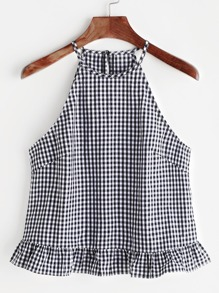 Black White Gingham Buttoned Keyhole Back Ruffle Halter Top