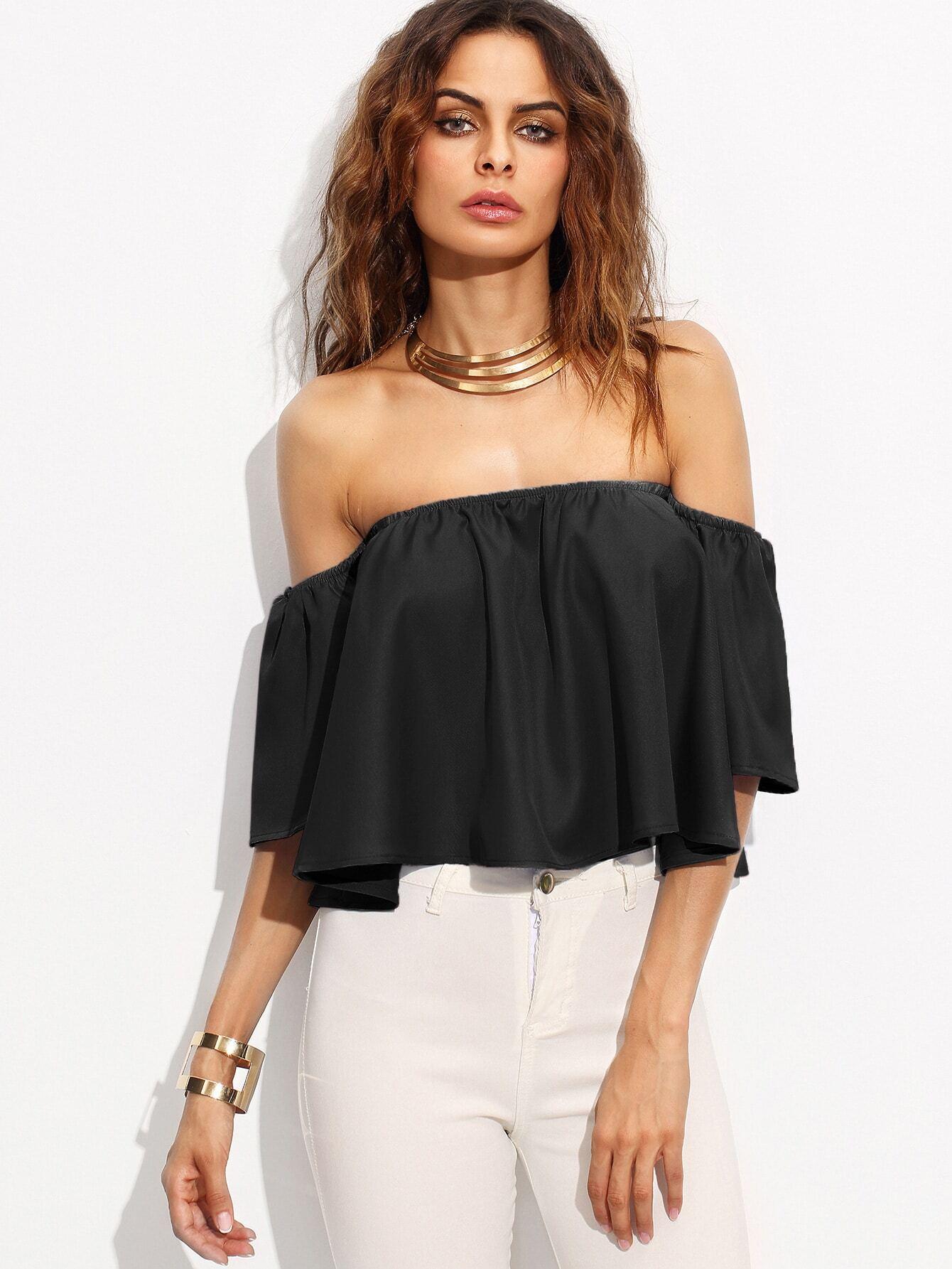 ec6f4364d09bc Off Shoulder Crop Top EmmaCloth-Women Fast Fashion Online