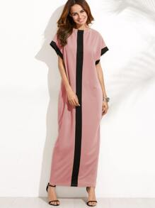 Pink Contrast Panel Cocoon Dress
