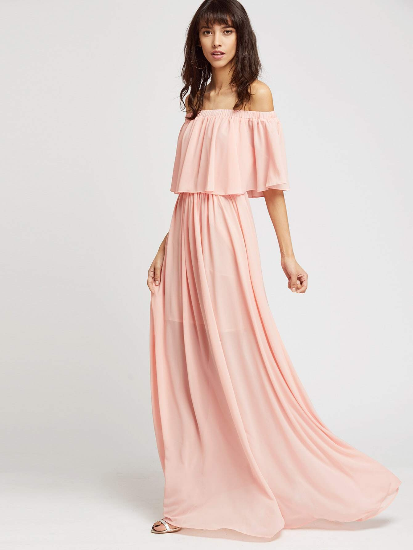 d627f8661f Pink Ruffle Cold Shoulder Maxi Dress EmmaCloth-Women Fast Fashion Online
