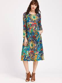 Multicolor Graffiti Print Shift Dress With Pockets