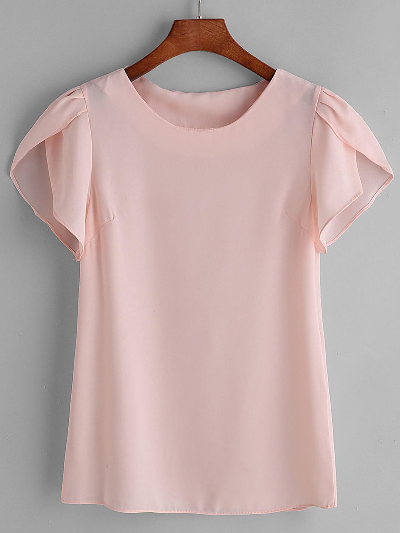 7b7496a9e3a589 Pink Pleated Cap Sleeve Chiffon Blouse EmmaCloth-Women Fast Fashion ...