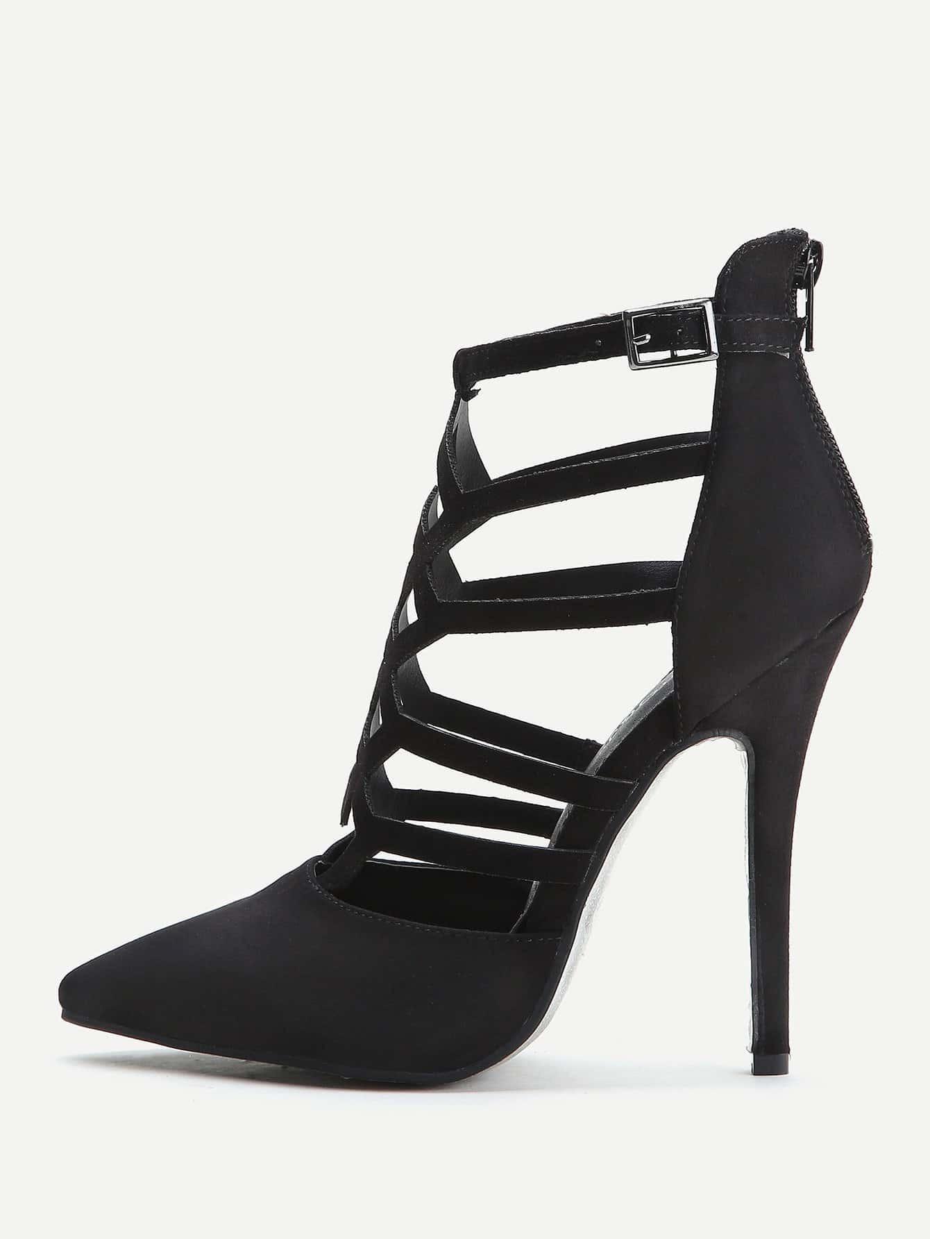 06421c962a4 Black Cutout Zipper Back Stiletto Heels EmmaCloth-Women Fast Fashion ...