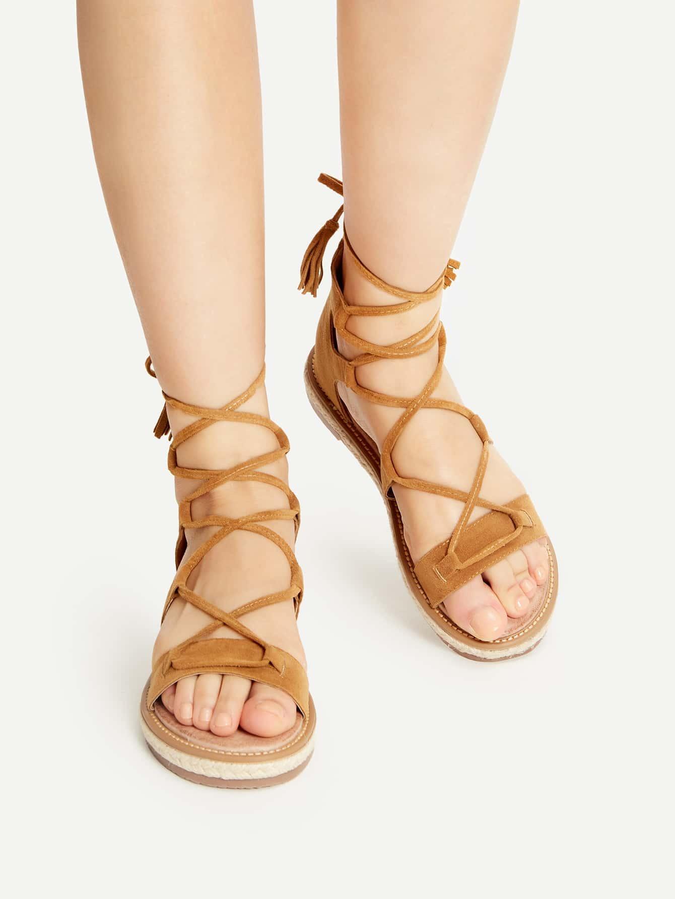 bebc218544ec Brown Lace Up Espadrille Flat Sandals With Tassel EmmaCloth-Women ...