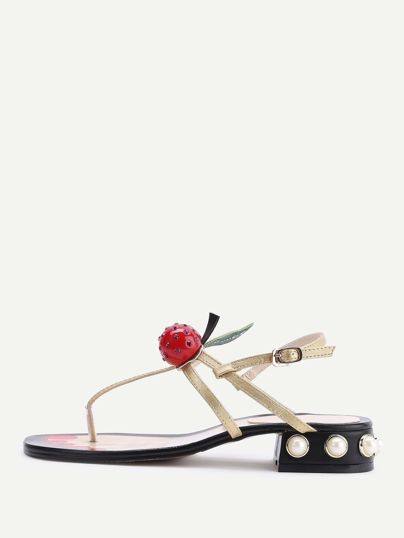 aabbb45b5 Gold Faux Pearl Heeled Thong Sandals With Cherry EmmaCloth-Women ...