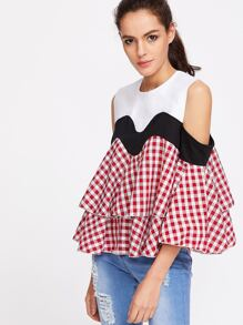 Contrast Gingham Plaid Open Shoulder Ruffle Tiered Top