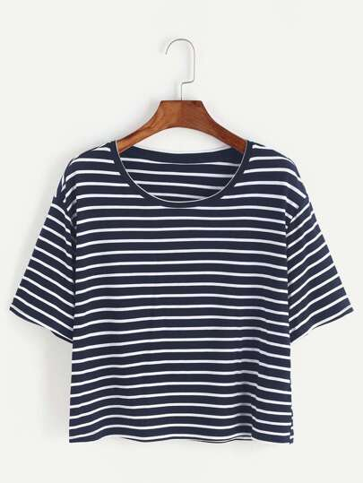 9efb93e84e6 Navy And White Striped Crop T-shirt