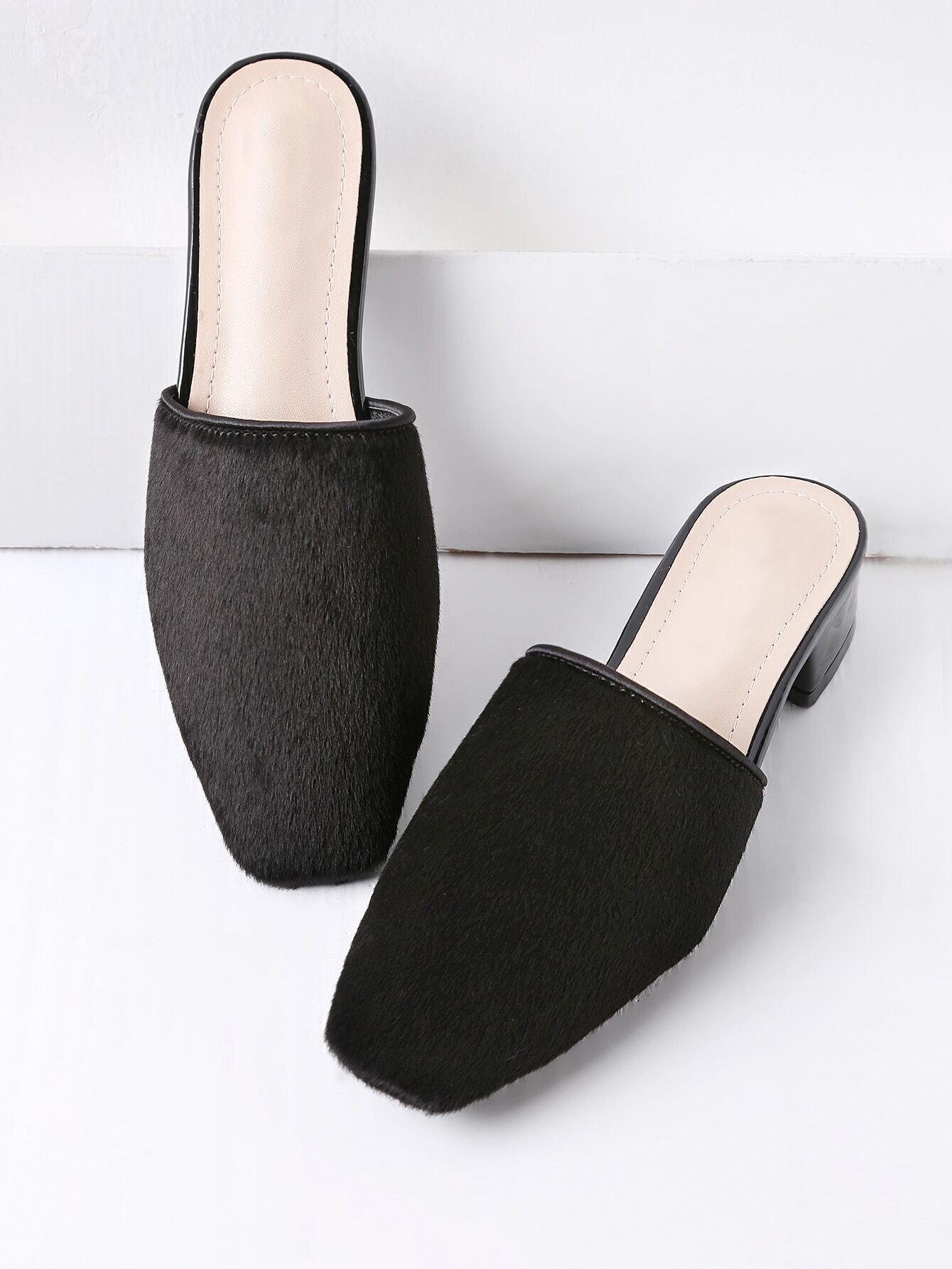 6e688b04822 Black Faux Fur Square Toe Heeled Slippers EmmaCloth-Women Fast ...