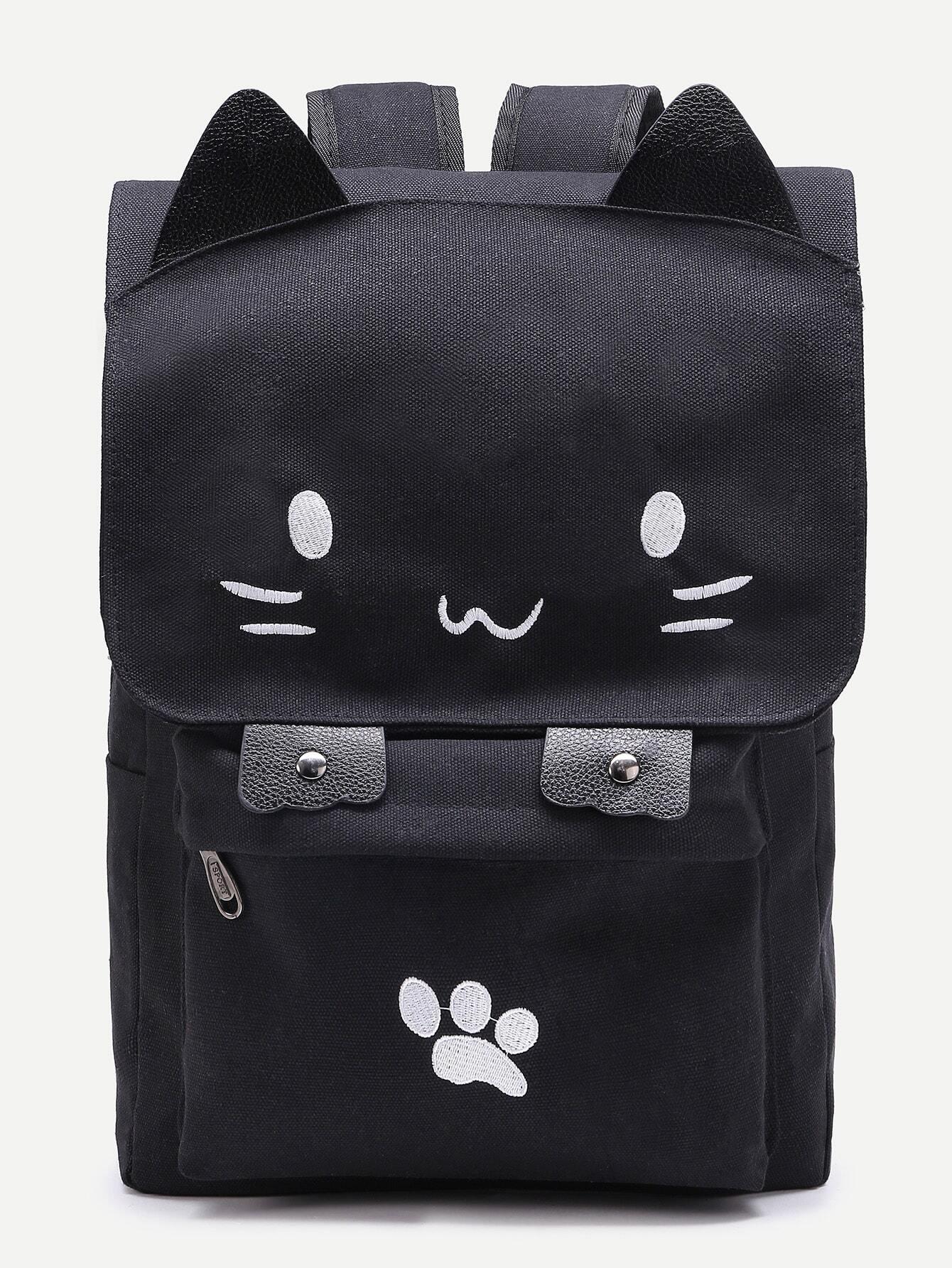 f60dfba6a3b0 Cute Cat Shaped Canvas Backpack EmmaCloth-Women Fast Fashion Online