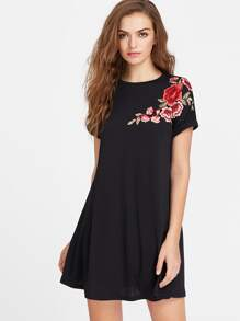 Embroidered Flower Patch Roll Cuff Swing Tee Dress