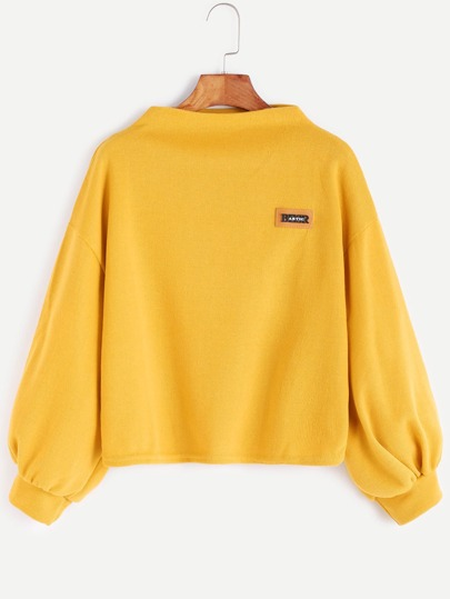 Funnel Neck Drop Shoulder Lantern Sleeve Patch Sweatshirt