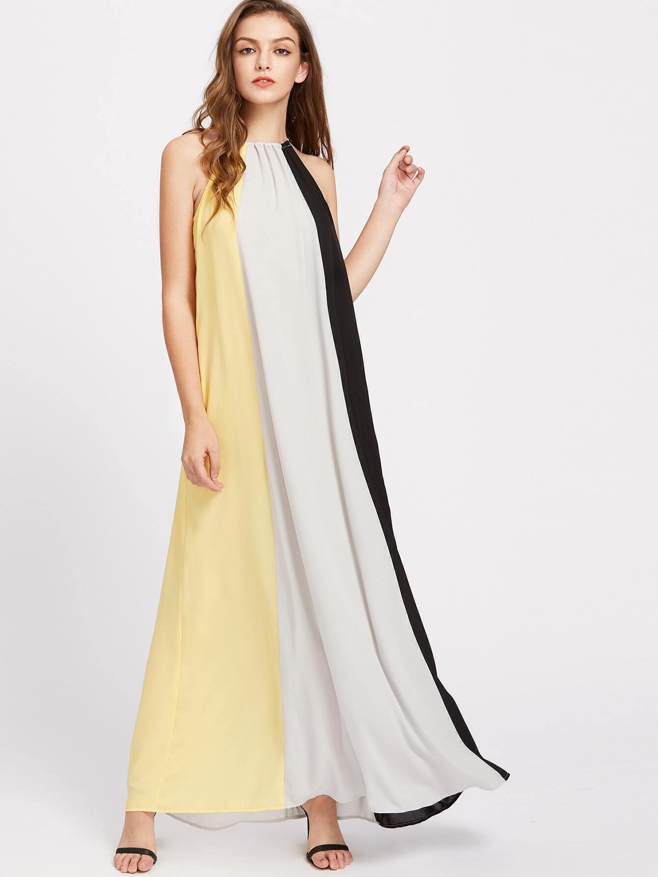 ca16f82c1ce Drawstring Halter Hidden Pocket Tent Dress EmmaCloth-Women Fast ...