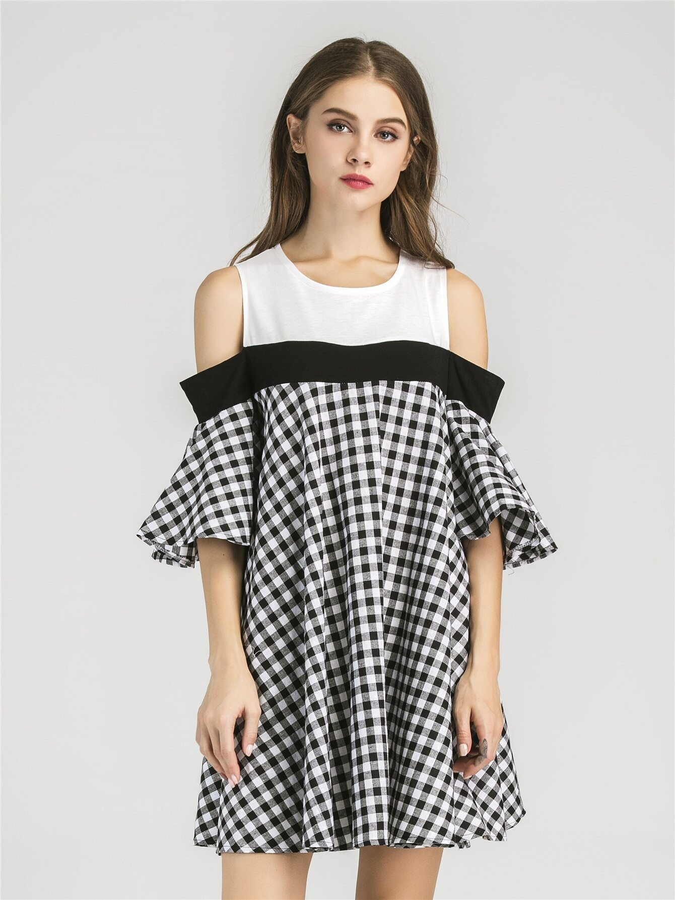 456bf667f3 Open Shoulder Contrast Gingham Bell Sleeve Dress EmmaCloth ...