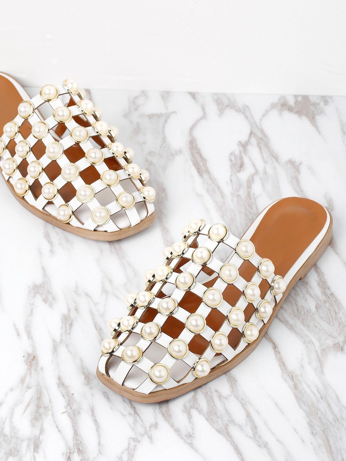 b9c3d6009f7 Faux Pearl Embellished Creux Sliders EmmaCloth-Women Fast Fashion Online
