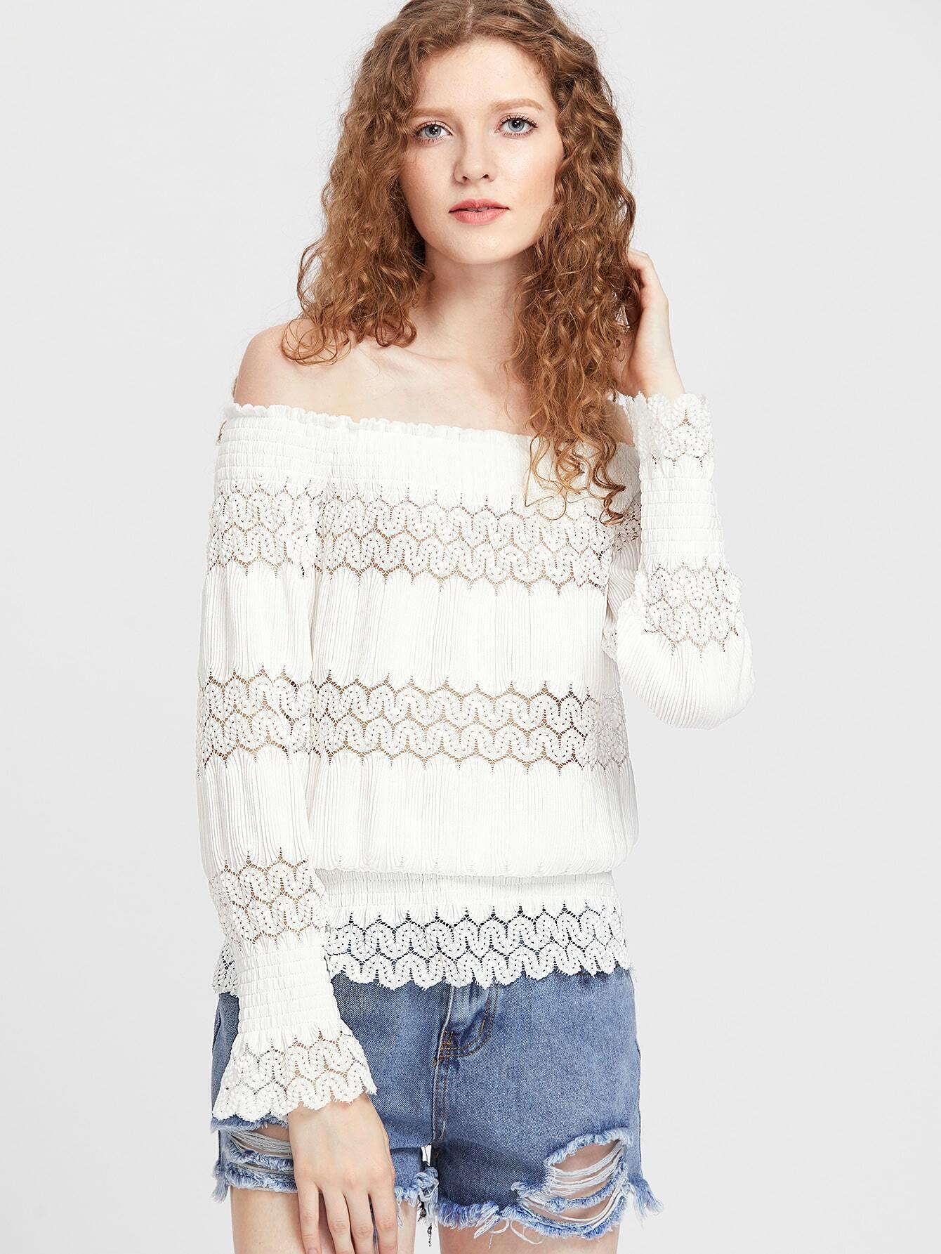 256ac3a9847614 Lace Insert Smocked Blouson Top EmmaCloth-Women Fast Fashion Online
