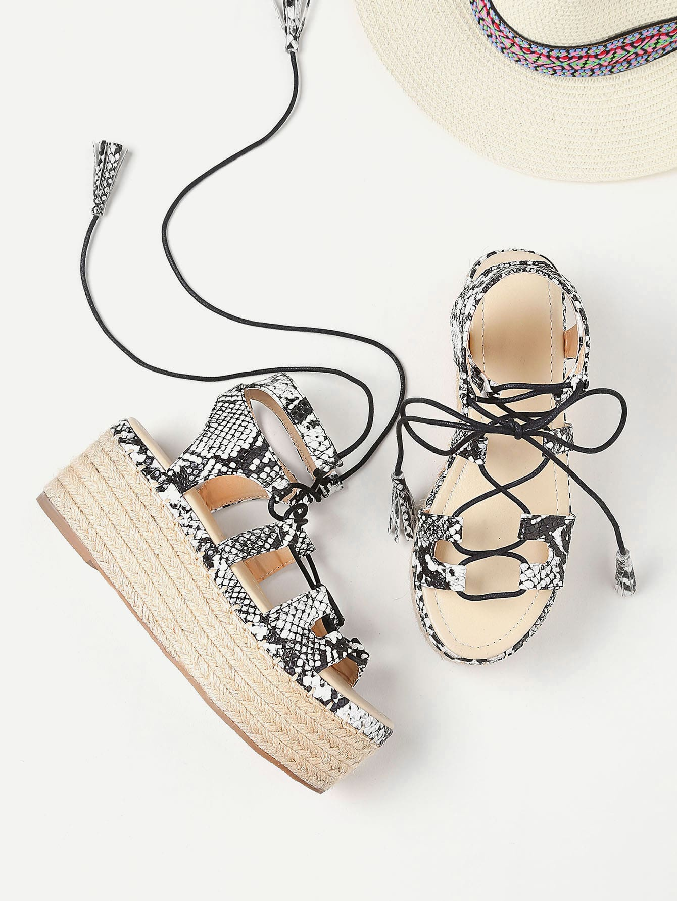 8a0847802d2 Snake Print Lace Up Espadrille Flatform Sandals EmmaCloth-Women Fast ...