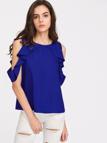 Button Closure Back Drape Ruffle Cold Shoulder Top