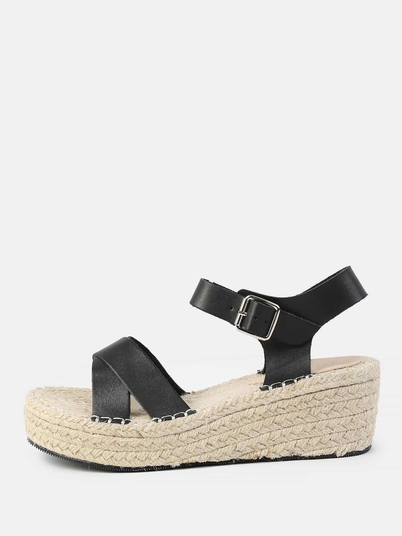 6cd709162f1 Cross Strap Espadrille Flatform Sandals BLACK EmmaCloth-Women Fast ...