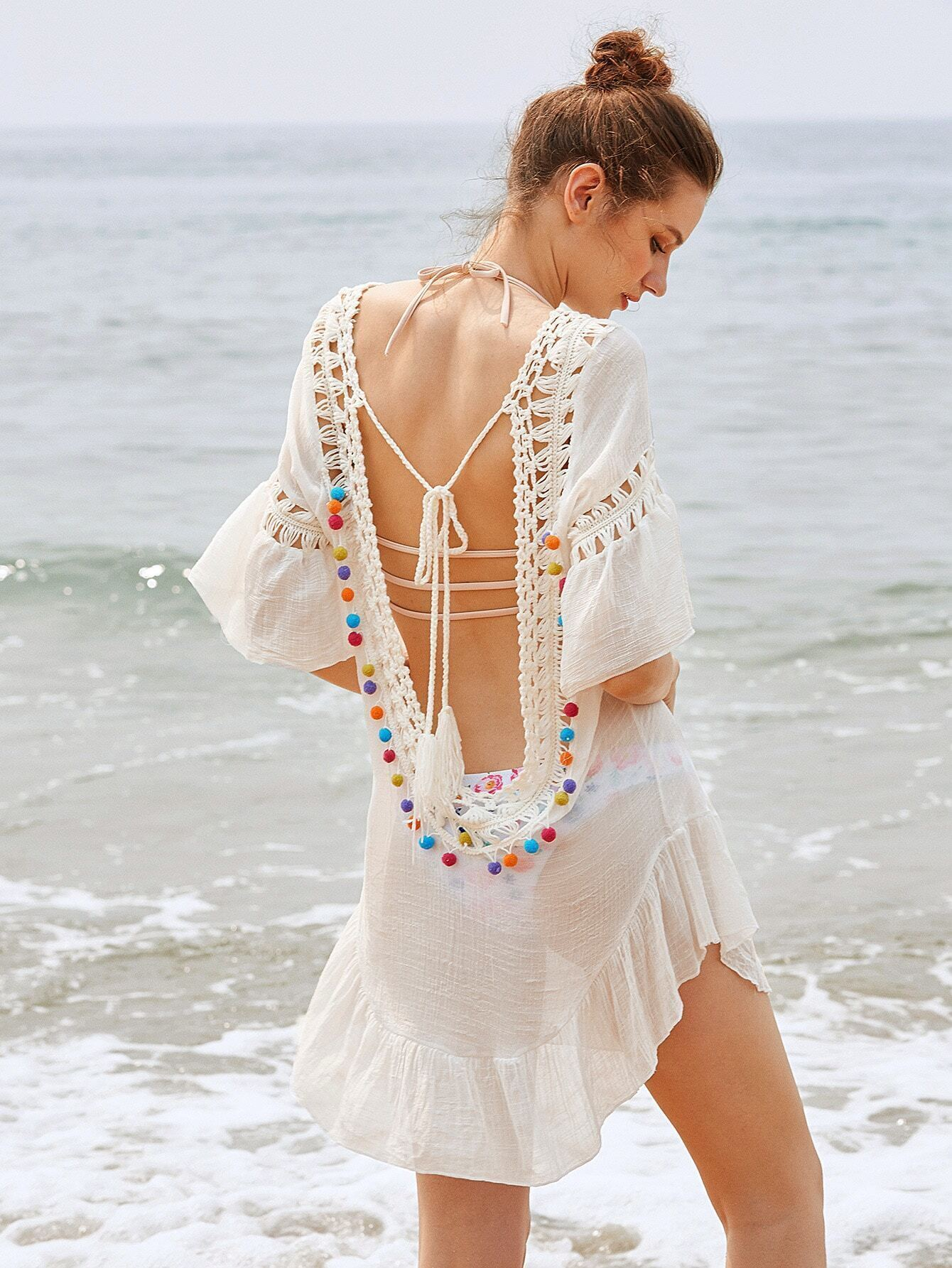 6846014f5e Crochet Insert Backless Tassel Tie Pom Pom Cover Up EmmaCloth-Women ...