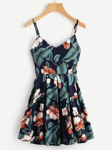 Leaf Floral Print Random Box Pleat Cami Dress