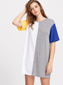 Color Block Cut And Sew Tee Dress