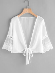 Embroidered Mesh Fluted Sleeve Self Tie Chiffon Kimono