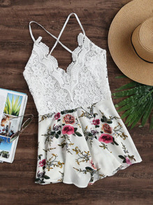 Floral Print Lace Bodice Criss Cross Backless Romper