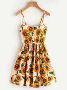 Random Sunflower Print Crisscross Back A Line Cami Dress