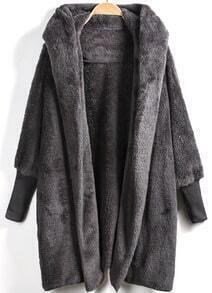 Open Front Faux Fur Hooded Teddy Coat